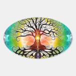 Árbol de la vida calcomanías ovales personalizadas