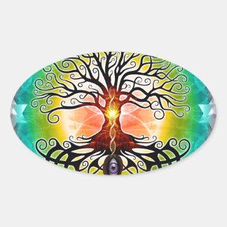 Árbol de la vida calcomanías óvales personalizadas