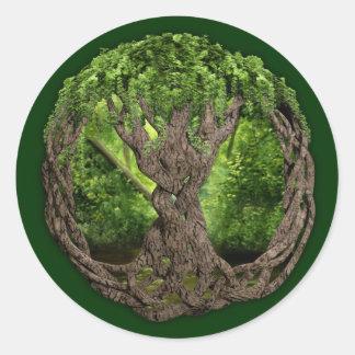 Árbol de la vida céltico etiqueta redonda