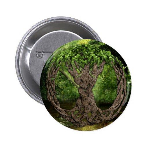 Árbol de la vida céltico pin redondo de 2 pulgadas