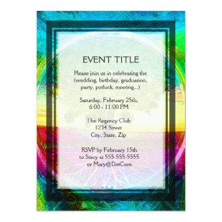 """Árbol de la vida coloreado arco iris invitación 6.5"""" x 8.75"""""""
