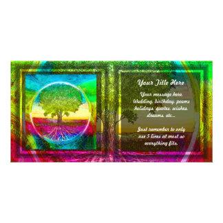 Árbol de la vida coloreado arco iris plantilla para tarjeta de foto