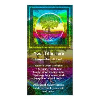 Árbol de la vida coloreado arco iris tarjetas fotográficas personalizadas