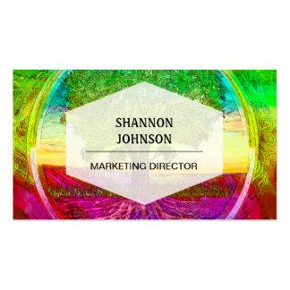 Árbol de la vida coloreado arco iris tarjetas de visita