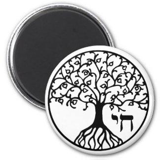 Árbol de la vida con CHAI Imán Redondo 5 Cm