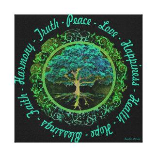 Árbol de la vida con con palabras positivas impresión en lona estirada