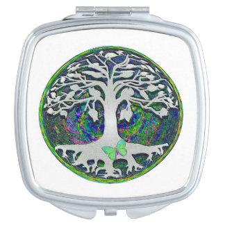 Árbol de la vida con la mariposa en círculo espejo para el bolso