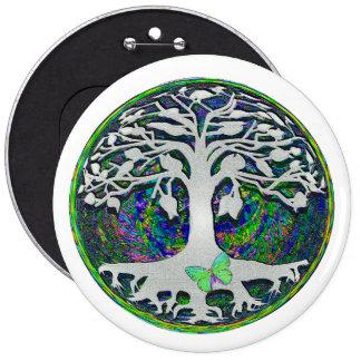 Árbol de la vida con la mariposa en círculo pin redondo 15 cm