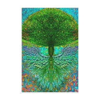 Árbol de la vida con las alas del ángel lona envuelta para galerías