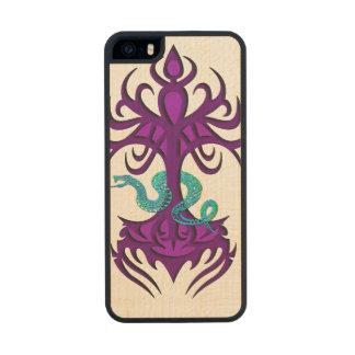 Árbol de la vida con púrpura de la serpiente funda de arce carved® para iPhone 5 slim