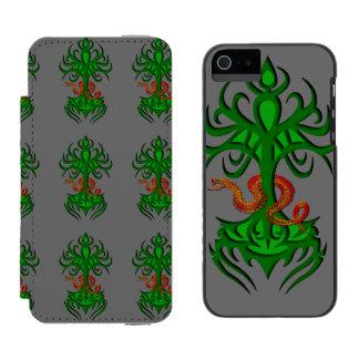 Árbol de la vida con verde de la serpiente funda billetera para iPhone 5 watson