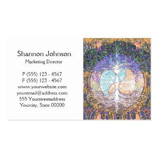 Árbol de la vida con ying el símbolo de yang y del tarjetas de visita