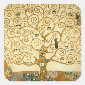 Árbol de la vida de Gustavo Klimt Calcomanía Cuadrada