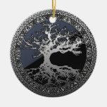 Árbol de la vida de plata adornos de navidad