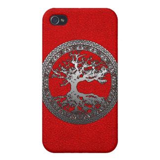 Árbol de la vida de plata iPhone 4 carcasas