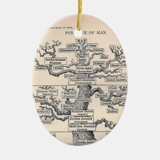 Árbol de la vida/del pedigrí del hombre adorno ovalado de cerámica