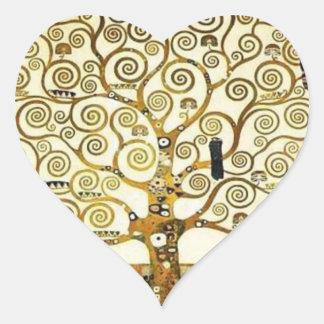 Árbol de la vida del pegatina del corazón de Klimt