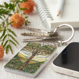 Árbol de la vida/del vitral de Tiffany Llavero
