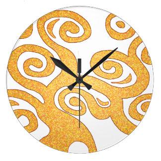 Árbol de la vida - el nouveau del arte del oro rem reloj redondo grande