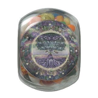 Árbol de la vida en colores del metal del arco frascos de cristal jelly belly