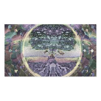 Árbol de la vida en colores del metal del arco tarjetas de visita