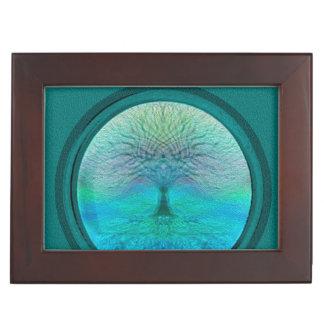 Árbol de la vida en colores verdes caja de recuerdos