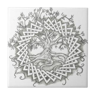 Árbol de la vida en diseño céltico azulejo cuadrado pequeño