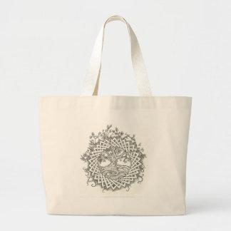 Árbol de la vida en diseño céltico bolsa de tela grande