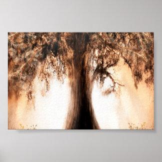 Árbol de la vida en el poster de la salida del sol