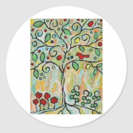 árbol de la vida etiqueta redonda