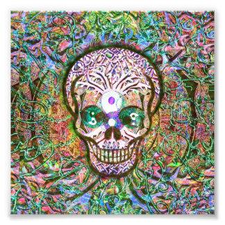 Árbol de la vida, ojos de Yin Yang, cráneo Fotografia