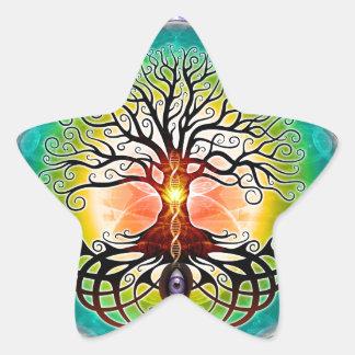 Árbol de la vida pegatina forma de estrella personalizadas