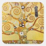 Árbol de la vida por Klimt Calcomanía Cuadradas
