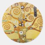 Árbol de la vida por Klimt Etiqueta Redonda