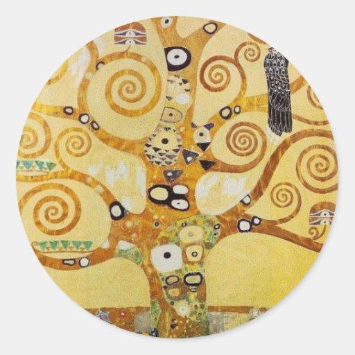 Árbol de la vida por Klimt Pegatina Redonda