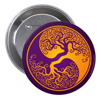 Árbol de la vida púrpura de oro Yin Yang Pin Redondo De 3 Pulgadas