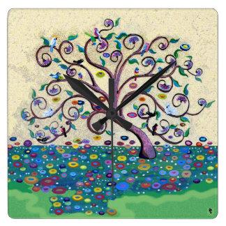 Árbol de la vida reloj cuadrado