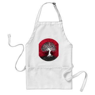 Árbol de la vida rojo delantal