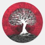 Árbol de la vida rojo etiqueta