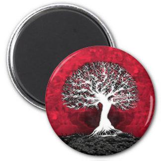 Árbol de la vida rojo imán redondo 5 cm