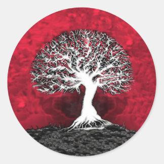 Árbol de la vida rojo pegatina redonda