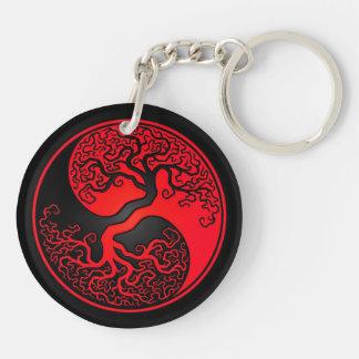 Árbol de la vida rojo y negro Yin Yang Llaveros