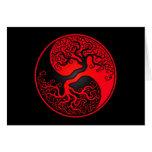 Árbol de la vida rojo y negro Yin Yang Tarjeton