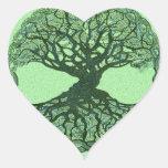 Árbol de la vida verde afortunado pegatina de corazón personalizadas
