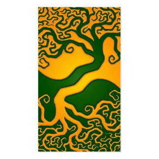Árbol de la vida verde de oro Yin Yang Tarjetas De Visita