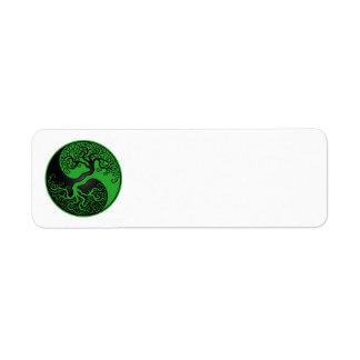 Árbol de la vida verde y negro Yin Yang Etiquetas De Remite