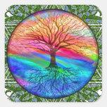 Árbol de la vida - vitalidad pegatina cuadrada