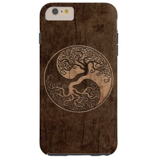 Árbol de la vida Yin Yang con el efecto de madera Funda De iPhone 6 Plus Tough