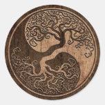 Árbol de la vida Yin Yang con el efecto de madera  Etiquetas