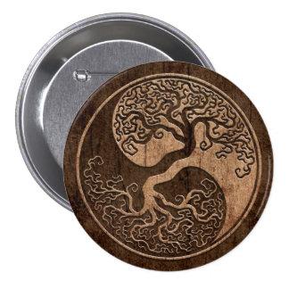 Árbol de la vida Yin Yang con el efecto de madera  Pin Redondo De 3 Pulgadas